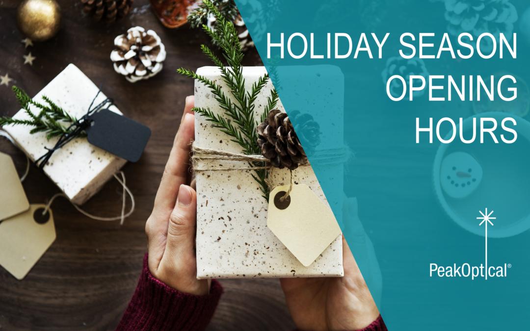 Holiday season opening hours